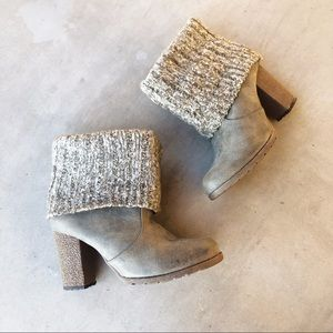 MUK LUKS Olive Taupe Sweater Knit Heeled Boots
